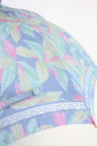 きもの日傘 水色紬着物 レース部分