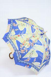 きもの日傘 青色小紋 斜め正面から見た