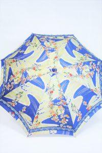 きもの日傘 青色小紋 正面から見た