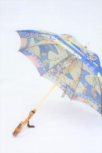 きもの日傘 青色小紋 斜めから見た