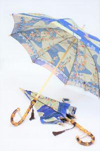 きもの日傘 青色小紋 1つの着物から2本