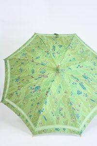 きもの日傘 グリーン小紋 正面から見た