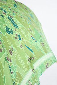 きもの日傘 グリーン小紋 レース部分