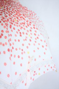きもの日傘 紅葉柄着物 レース部分