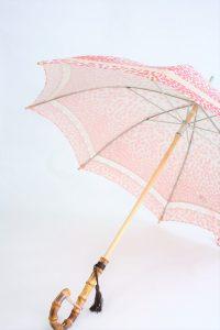 きもの日傘 紅葉柄着物 斜めから見た