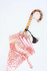きもの日傘 紅葉柄着物 手元とタッセル