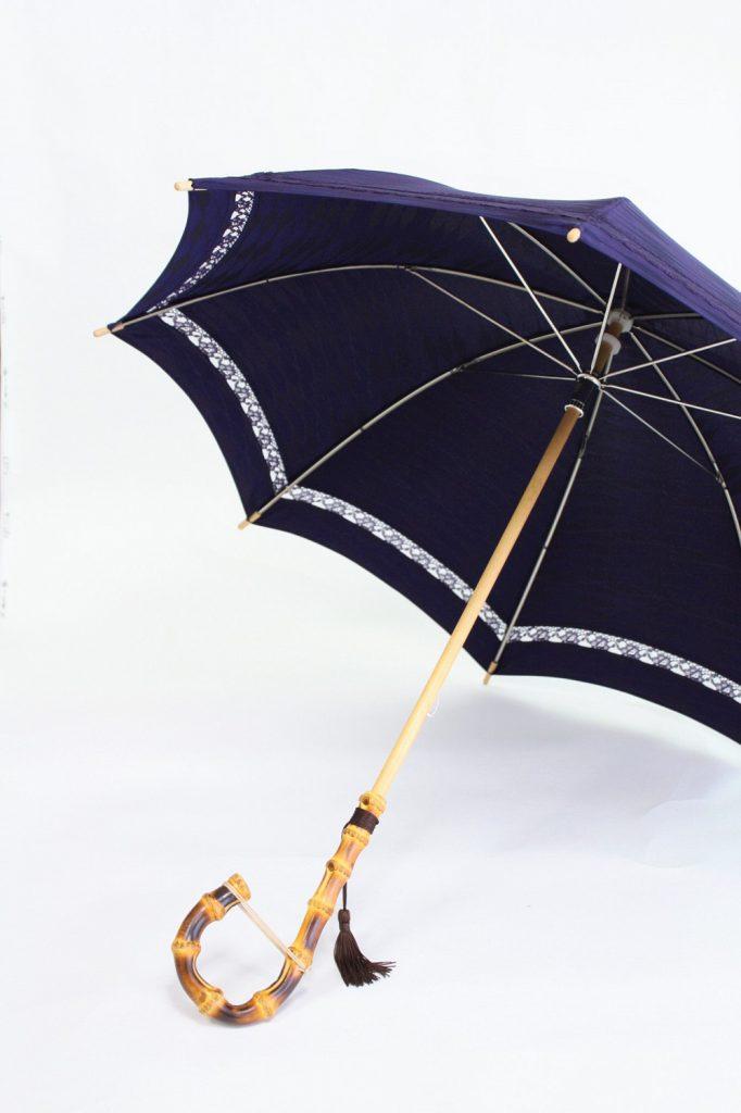 きもの日傘 雨コート 斜めから見た