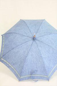 きもの日傘 水色小紋 正面から見た
