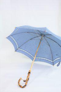 きもの日傘 水色小紋 斜めから見た