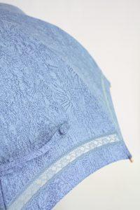 きもの日傘 水色小紋 レース部分