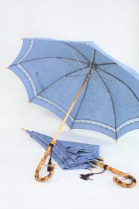 きもの日傘 水色小紋から2本の日傘