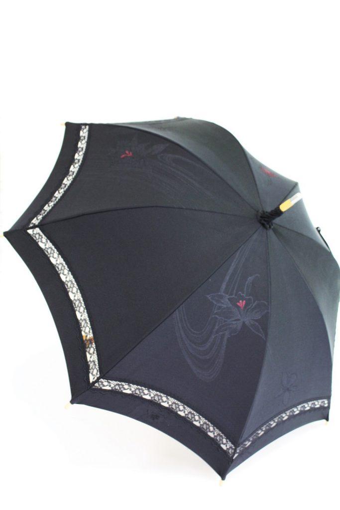 きもの日傘 黒羽織 斜め正面から見た