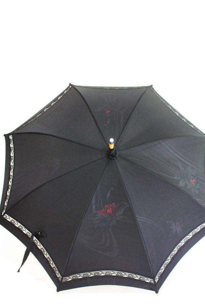 きもの日傘 黒羽織 正面から見た