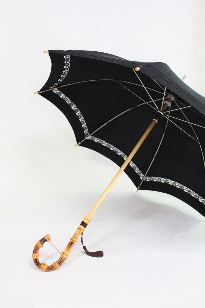 きもの日傘 黒羽織 斜めから見た