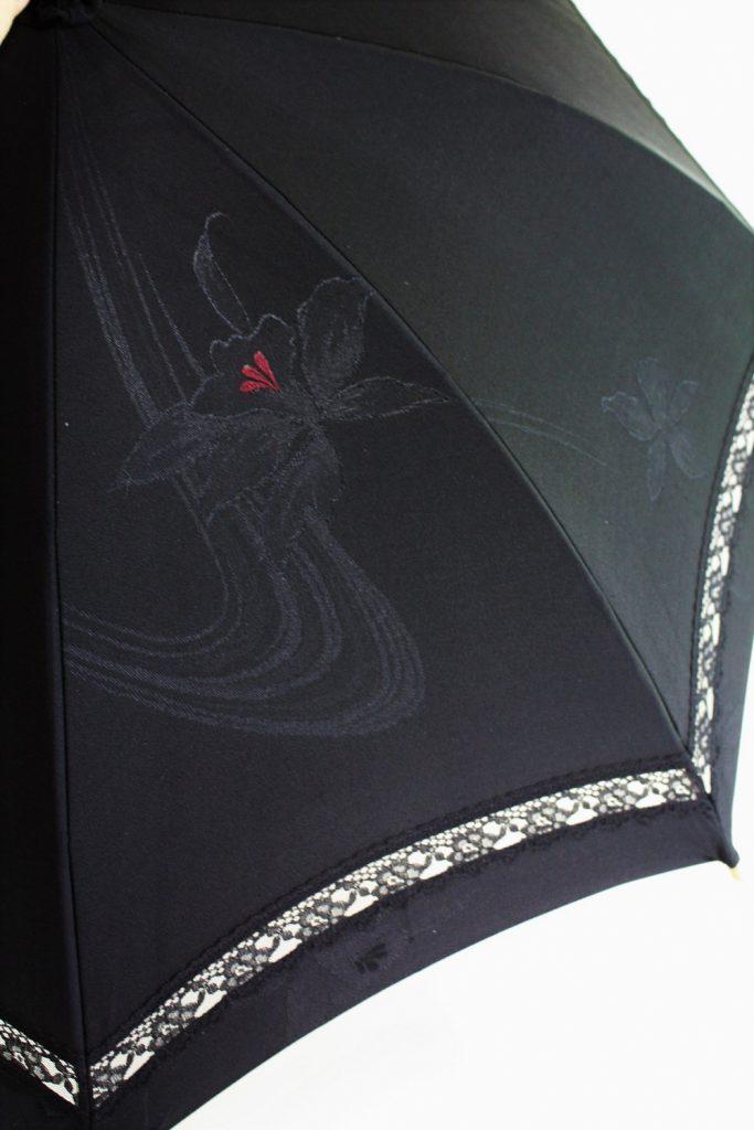 きもの日傘 黒羽織 レース部分