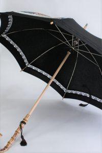 きもの日傘 黒留袖 斜めから見た