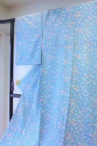 きもの日傘 水色小紋