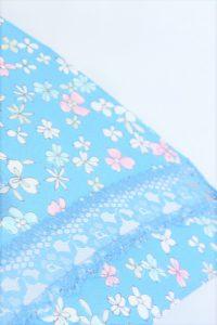 きもの日傘 水色小紋きもの レース部分