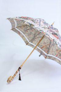 きもの日傘 オリエンタル花柄きもの 斜めから見た