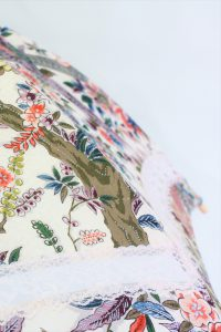 きもの日傘 オリエンタル花柄きもの レース部分
