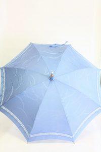 きもの日傘 水色紋付きもの 正面から見た
