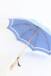 きもの日傘 水色紋付きもの 斜めから見た