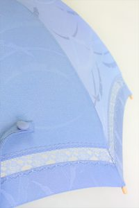 きもの日傘 水色紋付きもの レース部分