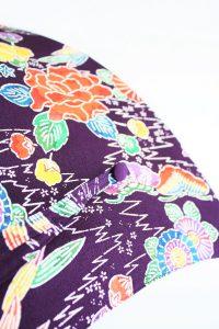 きもの日傘 紫色紅型小紋 レース加工なし通常タイプ