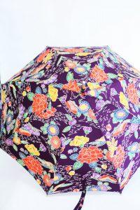 きもの日傘 紫色紅型小紋 正面から見た