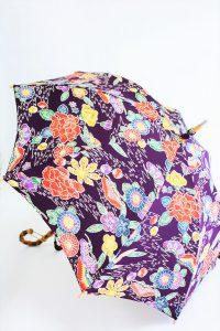 きもの日傘 紫色紅型小紋 斜め正面から見た